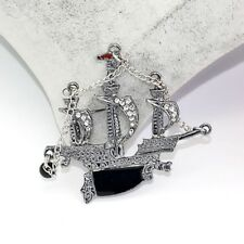 """Detailed """"Pirates Ship""""One Silver Badge Badge/Brooch Pirate Boat Jewelry Pin"""