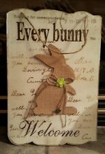 New Easter Every Bunny Welcome Door Wall Hanging Wreath Plaque Burlap 13.25""