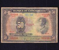 Belgian Congo 50  Francs  1947   P-16  seris F