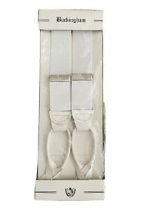 Vintage Buckingham Suspenders White/silver Leather And Elastic Adjustable USA!
