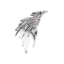 Retro Crystal Eagle Brooch Lapel Pin Men Women Shirt Suit Accessory Gift