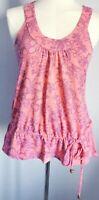 Mantaray Women's Top Pink Purple Size 8 100% Cotton Floral Sleeveless VGC