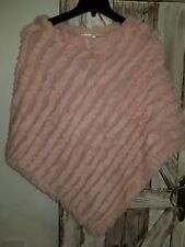 Christopher & Banks Poncho Pink OSFM Rabbit Fur