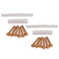Brass Bridge Pins with Bone Nut Saddle Slotted for Acoustic Guitar Parts 2 Sets