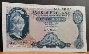 circa 1957 + Bank of England Helmeted Britannia O'Brien £5 Five Pound Banknote