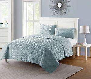 VCNY Home Nina Solid Basketweave Quilt Set 3pcs King AQUA - NEW SEALED