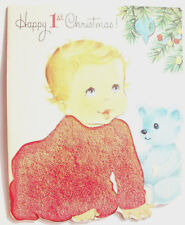 Baby's 1st Red flocked Christmas vintage greeting card C*