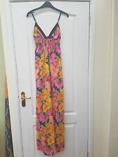 ATMOSPHERE PINK PEACH YELLOW GREEN FLOWER PRINT COTTON STRAPPY FLOATY MAXI DRESS