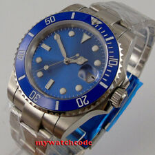 40mm bliger Vidrio Zafiro Esfera Azul Reloj Para hombres Automático NH35 bisel de cerámica