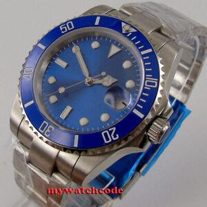 40mm bliger blue dial sapphire glass automatic NH35 mens watch ceramic bezel