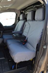 Grey Waterproof Seat Covers Front 3 for Peugeot Expert Van 2016+ W/ Worktray