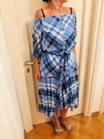 Lauren RALPH LAUREN Blue Midi Dress Off Shoulder Plaid Wrap Style M Netaporter
