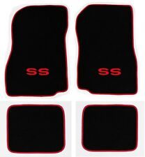 NEW! 1968-1972 CHEVELLE Floor Mats Black Carpet Embroidered Red SS Binding Set 4