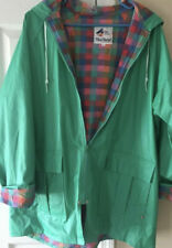 Misty HARBOR CLASSIC Rain Any Weather COAT JACKET Blue Green Hood Spring Plaid S