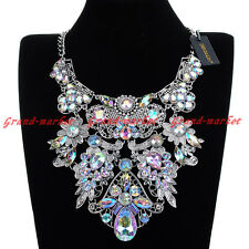 Fashion Silver Chain Multi-Color Crystal Acrylic Statement Pendant Bib Necklace