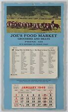Joe's Food Market Gilroy California 1949 Grocery List List Color Calendar Cattle