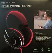 New! SuperiorBassStereoHeadPhone With Microphone For Head Free Calls SoundLogic