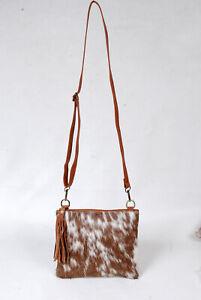 Real Cowhide Cross body Purse Handbag & Hand Clutch  Cow Hide Leather  SA-6289