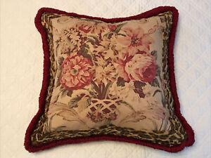 RARE! VTG Ralph Lauren ARAGON Fringed Guinevere Floral Only Pillow Cover MINT!