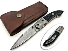 SMITH KRAFT CUSTOM HANDMADE DAMACUS SHARP EDGE LINEAR LOCK FOLDING KNIFE BULL HN