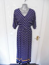 ❤ TWIGGY M&S Size 12 R China Blue Yellow Black Stretch Maxi Dress Drawstring