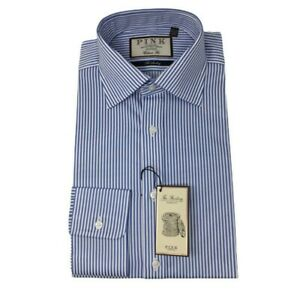 THOMAS PINK Blue & White Stripe Classic Fit Cotton Shirt - £90