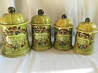 Vintage Set of 4 Los Angeles Pottery 1967 Olive Green Ceramic Canisters Fruits
