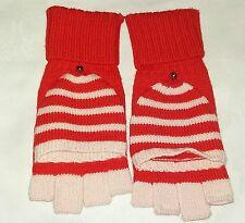 KATE SPADE Fingerless Gloves Flip Over 100% Wool Mittens Red