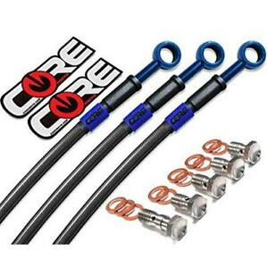 Silver Hose /& Stainless Blue Banjos Pro Braking PBK8172-SIL-BLU Front//Rear Braided Brake Line