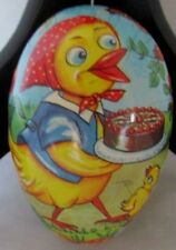 "Antique German Dr Paper Mache Duck W/ Cake 3 3/8"" Easter Candy Egg Container"