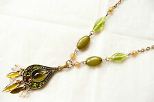 Stones & Beads - New Accessorize Gold Necklace_Teardrop Pendant_Green & Amber