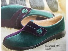 HOTTER WRAP LADIES COMFORT SLIPPERS - plum/deep Teal suede UK size 9 BRAND NEW