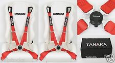 2X TANAKA UNIVERSAL RED 4 POINT CAMLOCK QUICK RELEASE RACING SEAT BELT HARNESS