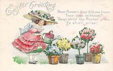 Bertha E Blodget Easter~Girl in Huge Hat~Watering Can~Potted Flower Trees~AMP Co