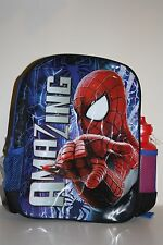 Marvel The AmazingSpiderman Large School or Kinder Bag Backpack and Bottle - New