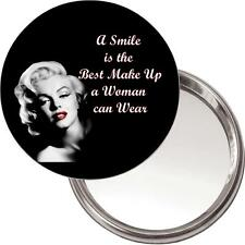 """Marilyn Monroe Makeup Mirror """"A smile is the ..."""" in a black organza bag. NEW"""