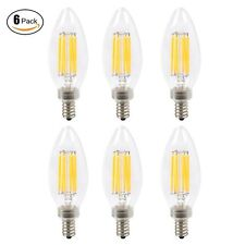 6pcs Dimmable E12 6W LED Filament Candelabra Light Bulb Chandelier Bullet tip