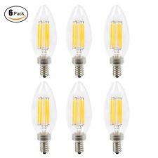 6pcs Dimmable E12 6W LED Filament Candelabra Light Bulb Chandelier Bullet tip