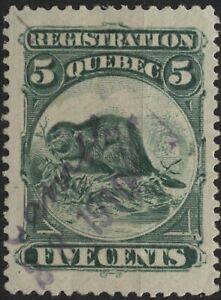Canada VanDam #QR5 5c green Quebec Registration Stamp used of 1870