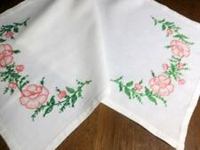 Vintage Table Runner Embroidered Coral Pink Roses Hemstitched 14x37