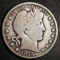 1915-P BARBER HALF DOLLAR - VG VERY GOOD