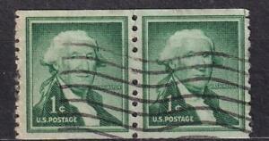 USA used: 1954-1980 Washington 1¢ coil pair, repair end, sc#1054