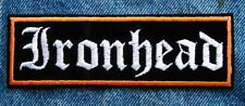 LARGE IRONHEAD Biker Motorcycle Patch by Dixiefarmer White Old English Text