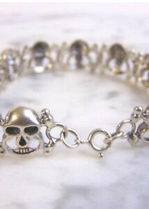 sterling 925  silver skull bracelet With clasp