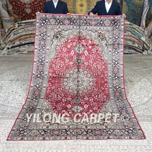 Yilong 5'x8' Red Handwoven Silk Carpet Traditional Handmade Area Rug 411B