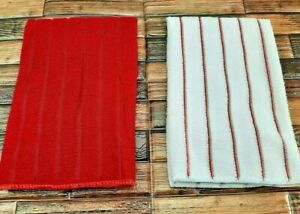 Kitchen Dish Hand Towels Set of 2 Absorbent Super Soft Red Solid And Striped