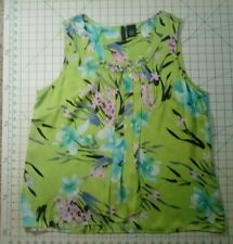 Beautiful  Leightweight Satin Beaded Floral Print Top in Greens and Pinks Sz. XL