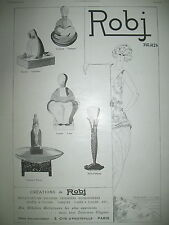 PUBLICITE DE PRESSE ROBJ CREATIONS BRULE PARFUMS ENCRIERS VASES FRENCH AD 1924