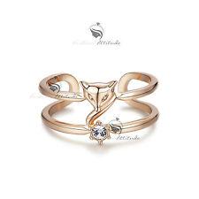 18K Rose Gold Plated women's wedding Ring Simulated Diamond Fox
