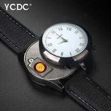 Men's Quartz Watches USB Rechargeable Lighter Wristwatch Novelty Windproof Watch